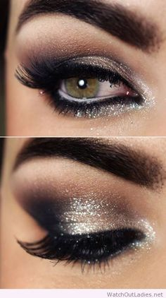 Eye make up for night time with gold eyeshadow