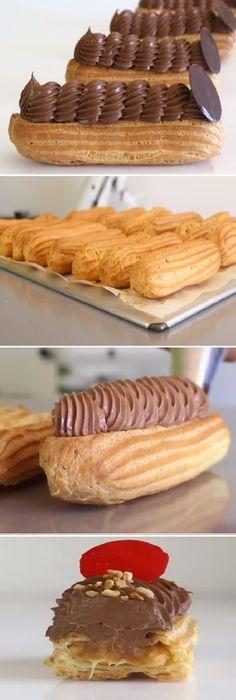 Madre mia Chicas que maravilla de Éclairs con ganache de caramelo, y crema de chocolate.  #éclairs #ganache #caramelo #crema #masa #pasta #cremachocolate #choux #mascarpone  #postres #cheesecake #cakes #pan #panfrances #panettone #panes #pantone #pan #recetas #recipe #casero #torta #tartas #pastel #nestlecocina #bizcocho #bizcochuelo #tasty #cocina #chocolate #navidad   Si te gusta dinos HOLA y dale a Me Gusta MIREN...