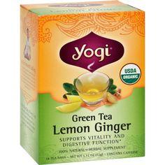 Yogi Organic Green Tea Lemon Ginger - 16 Tea Bags - Case Of 6