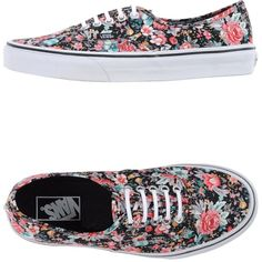 Vans Sneakers (230 BRL) ❤ liked on Polyvore featuring shoes, sneakers, vans, zapatos, black, black sneakers, flat shoes, round toe sneakers, flower print shoes and black floral shoes