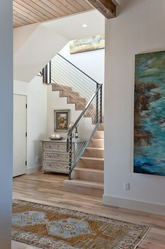 Beach house entry! love that art...