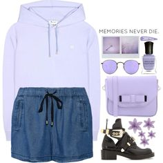 How To Wear featuring a lilac hoodie Outfit Idea 2017 - Fashion Trends Ready To Wear For Plus Size, Curvy Women Over 20, 30, 40, 50