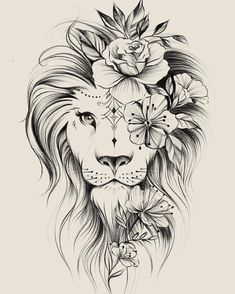 Image could contain: drawing – flower tattoos – best tattoo – flower tattoos designs - tatoo feminina Leo Tattoos, Bild Tattoos, Future Tattoos, Body Art Tattoos, Tattoos For Guys, Tatoos, Leo Zodiac Tattoos, Portrait Tattoos, Arm Tattoos For Women