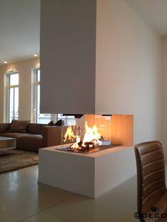 Wohnzimmer Modern Einrichten Graue Mbel Gas Kamin Raumteiler