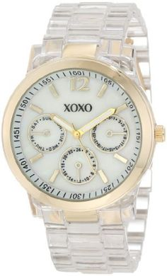 XOXO Women's XO5515 Clear Bracelet with Gold Case Watch XOXO. $19.99. Faux chronographs for decorative purposes only. Fold over clasp with double push button safety. Imitation mother of pearl dial. Case diameter: 38 mm. Quality quartz movement