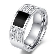 Mens Black Onyx & Cubic Zirconia Stainless Steel Wedding Band Ring