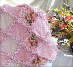 Pink Shabby Roses Baby Rag Quilt Baby Bedding at Quilts Just. Baby Rag Quilts, Girls Rag Quilt, Girls Quilts, Flannel Rag Quilts, Baby Flannel, Quilting Projects, Sewing Projects, Quilting Ideas, Shabby Chic Quilts