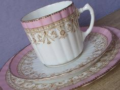 Antique 1880's Aynsley tea cup trio Pink tea cup by ShoponSherman