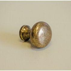 Button Cabinet Knob - Antique Brass
