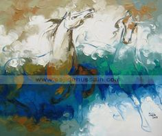 Abstract Blue Horse Painting art Canvas Print / Canvas Art by Sajida Hussain Canvas Art Prints, Painting Prints, Painting Art, Abstract Horse Painting, Fine Art Amerika, Horse Artwork, Horse Paintings, Oil Paintings, Figurative Kunst