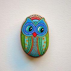 Hibou de Pierre peint à la main / Gufo Dipinto un mano