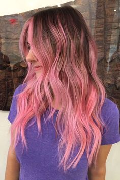 """Rosé Hair Is Back: Here Are 11 Rad Ways To Wear It NOW #refinery29  http://www.refinery29.com/pink-hair-dye-rose-color-photos#slide-10  """"Right now, it's about soft and dimensional colorful colors,"""" Anja Burton says. """"In the past, you would first bleach and tone, then apply the color of your choice for a more monochromatic look."""" Today, it's all about painting. Burton is one of the top colorists at L.A.'s It salon <a href=""""http://www.refinery29..."""