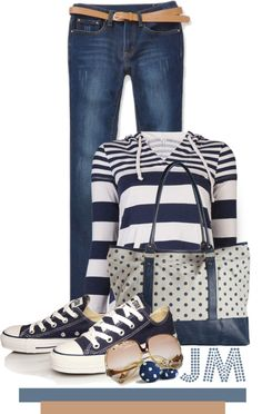 """""""Casual Stripes & Dots"""" by jenniemitchell ❤ liked on Polyvore"""