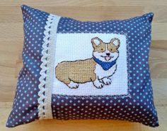 Dream pillow with corgie, dog design with cross stitch