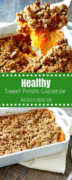 Healthy Vegan Gluten-Free Sweet Potato Casserole: A lightened up, naturally sweetened version of sweet potato casserole. Vegan. Gluten Free. From Scratch Sweet Potato Puree. How to make Sweet Potato Puree