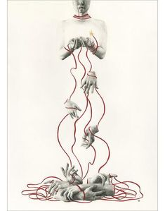 """Stephanie Inagaki - """"Disentangle"""" - charcoal and watercolour on paper - 42.2 x 59.7cm (16.6""""x23.5"""")"""
