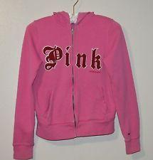 Victoria's Secret Pink Women's Full Zippered Hoodie Pink Size Medium