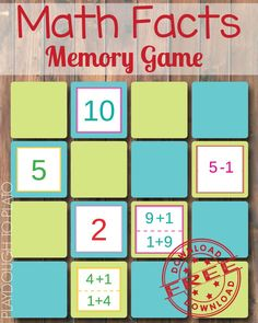 Math Fact Memory Game - Playdough To Plato. this would be great for multiplication! Easy Math Games, Free Math Games, Math Activities For Kids, Math For Kids, Fun Math, Maths Resources, Autism Activities, Kids Fun, Math Fact Fluency