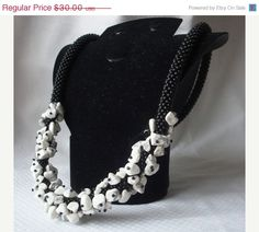 MOTHERS DAY SALE Black crochet beads rope by RebekeJewelryShop, $25.50