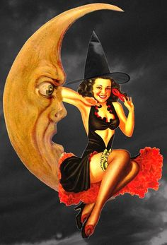 A Nostalgic Halloween: Retro Moon Witch Pin Up