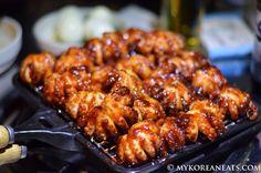 Korean Jukumi (Grilled Baby Octopus) at Heeya's Jukumi & Bindaetteok 희야네 석쇠 쭈꾸미 & 빈대떡 (Hongdae, Seoul) Complete restaurant review at http://mykoreaneats.com/2014/05/heeyas-jukumi-bindaetteok/