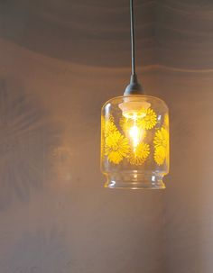 DAISY Pendant L& - Hanging Pendant Lighting Fixture Made From a Vintage Corning Ware Glass Canister With Yellow Daisies - BootsNGus Lights & Antoine Laverdiereu0027s Restaurant Animal Lights Available To the ... azcodes.com