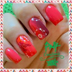 "Essie peach daiquiri"" and edding bright burgundy"" with gradient nail, glitter and white stamping nail design Peach Daiquiri, Gradient Nails, Essie, My Nails, Stamping, Nailart, Nail Designs, Burgundy, Glitter"