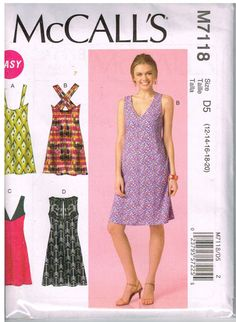 McCall's M7118, Home Sewing Pattern, Misses' Dresses, Size 12, 14, 16, 18, 20 by OhSewWorthIt on Etsy