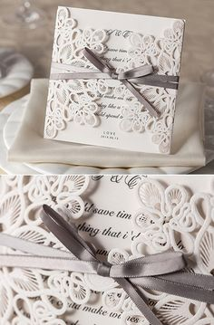 vintage laser cut lace pocket wedding invitation cards #weddinginvitations…