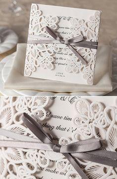 vintage laser cut lace pocket wedding invitations