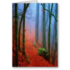 Painted Forest Autumn Blue Fog Greeting Cards by Lee Hiller #Photography and #Design