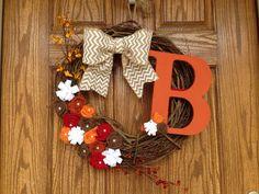 Fall Burlap Grapevine Wreath - Chevron Burlap Grapevine Wreath - Monogram Grapevine Wreath for the Door on Etsy, $45.00
