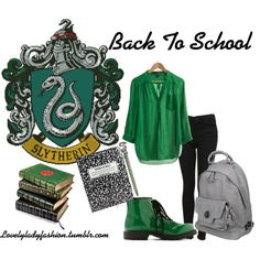 """""""Slytherin Back to School"""" by nearlysamantha on Polyvore"""