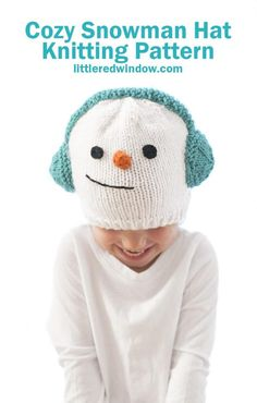 This cute and cozy snowman hat knitting pattern is complete with warm earmuffs, a carrot nose and a sweet smile, it's the perfect winter knitting project to knit for your baby or toddler!