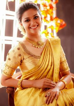 Actress Keerthi suresh in bridal silk saree photos. She is so beautiful in wedding silk sarees with matching blouses and jewellery. South Indian Weddings, South Indian Bride, Indian Bridal, Kerala Bride, South Indian Sarees, Indian Groom, Bridal Silk Saree, Saree Wedding, Silk Sarees
