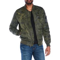 Members Only Camouflage Jacquard Bomber Jacket ($50) ❤ liked on Polyvore featuring men's fashion, men's clothing, men's outerwear, men's jackets, green, members only mens jacket, mens camouflage jacket, mens blouson jacket, mens camouflage bomber jacket and mens flight jacket