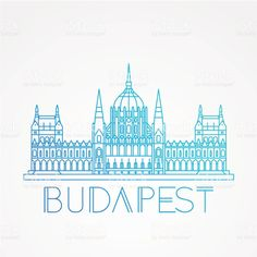 Hungarian Parliament Building the symbol of Budapest royalty-free stock vector art Budapest City, Budapest Travel, Free Vector Graphics, Free Vector Art, Line Art, City Drawing, Travel Sketchbook, City Tattoo, City Icon