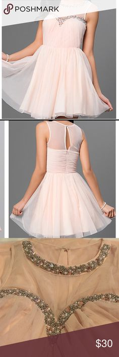 Beaded Peach Nude Dress NWT Beaded Sheer Peach Short Dress Color May Differ From Lighting  As U Wish Dresses Prom
