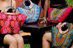 Colourful African print handbags