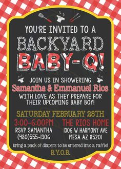 Printable BBQ Baby Shower Invitation by RiverMamasDesigns on Etsy