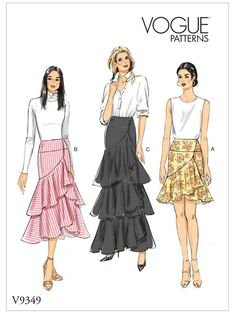 Buy Vogue Women's Skirt Sewing Pattern, from our Sewing Patterns range at John Lewis & Partners. Vogue Patterns, Skirt Patterns Sewing, Vintage Sewing Patterns, Clothing Patterns, Skirt Sewing, Vogue Fashion, Fashion Sewing, Diy Fashion, Gothic Fashion