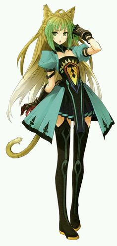Anime girl - green hair, green eyes, green-black-yellow dress, catgirl