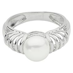 PearLustre by Imperial Sterling Silver 8-8.5MM button shape Freshwater Cultured Pearl ribbed shank Ring, Women's, Size: 6.5, White/Silver