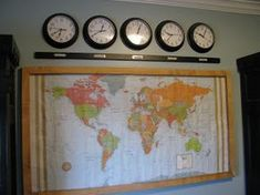 Time zone clocks based on other countries. I would like to do this in the school room 252 Basics, Modern Mobile Homes, Time Zone Clocks, World Time Zones, World Clock, Kids Decor, Home Decor, Decor Ideas, Decorating Ideas