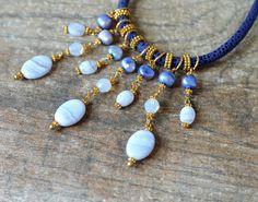 Boheemse waterval ketting Blue lace Agaat Parel door ShopPretties