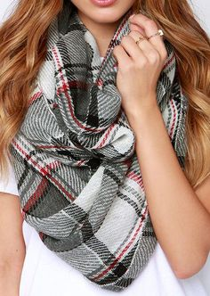 Shiver Me Timber Faller Grey and Ivory Plaid Infinity Scarf