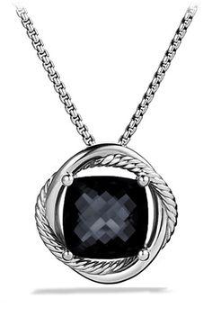 Women's David Yurman 'Infinity' Medium Stone Pendant on Chain - Black Onyx