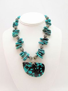 Turquoise Pendant Necklace  T12 by daksdesigns on Etsy