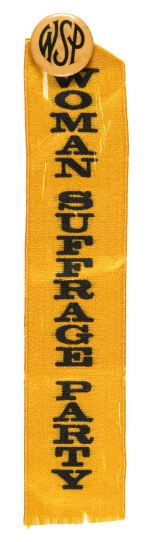 The Woman Suffrage Party, begun by Carrie Chapman Catt, campaigned vigorously in New York in 1915 and 1917.  This piece was issued in their official colors of yellow and black.