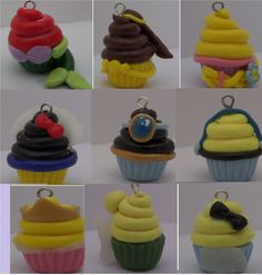 Items similar to Disney Princess Polymer Clay Cupcake Charms on Etsy Polymer Clay Cupcake, Polymer Clay Disney, Polymer Clay Charms, Diy Clay Earrings, Cute Clay, Clay Food, Clay Ornaments, Polymer Clay Miniatures, Polymers